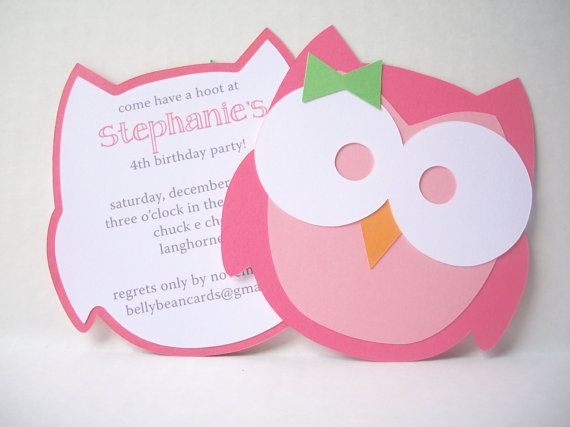 Owl Party Invitation with Bow by bellybeancards on Etsy, $20.00