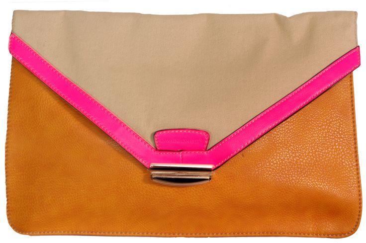 David Jones Clutch Bag / Orange / Cream / Pink
