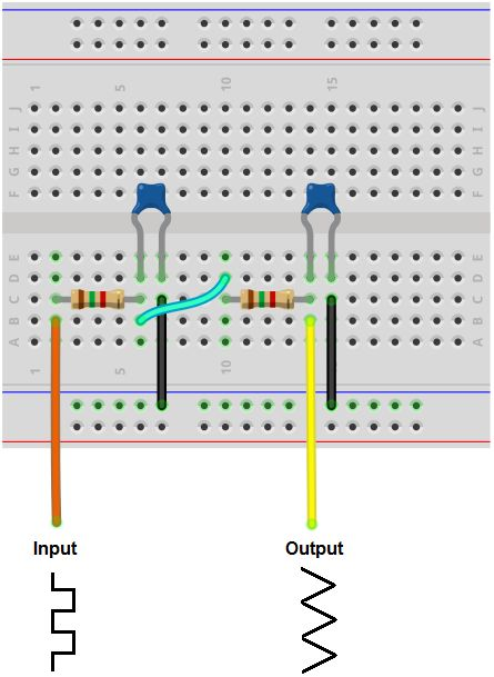 Square to triangle wave converter breadboard circuit