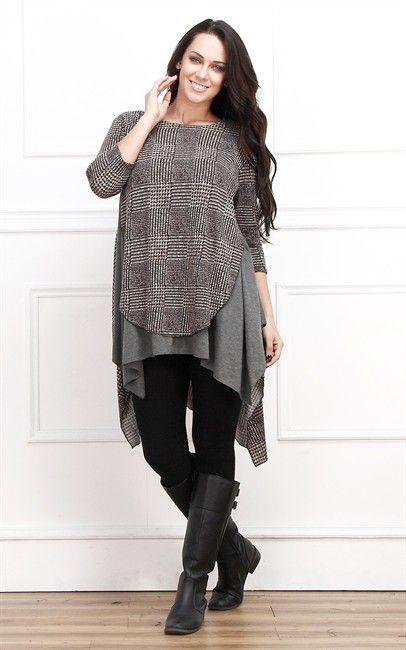 Brown and grey tunic from Reborn collection $39.00