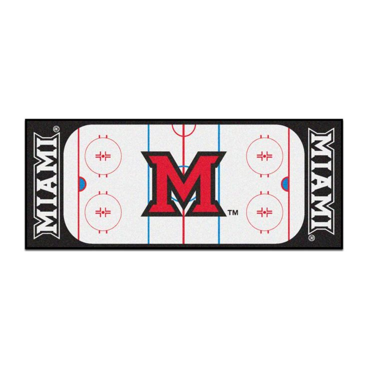 Ncaa - Miami University White 2 ft. 6 in. x 6 ft. Indoor Hockey Rink Runner Rug