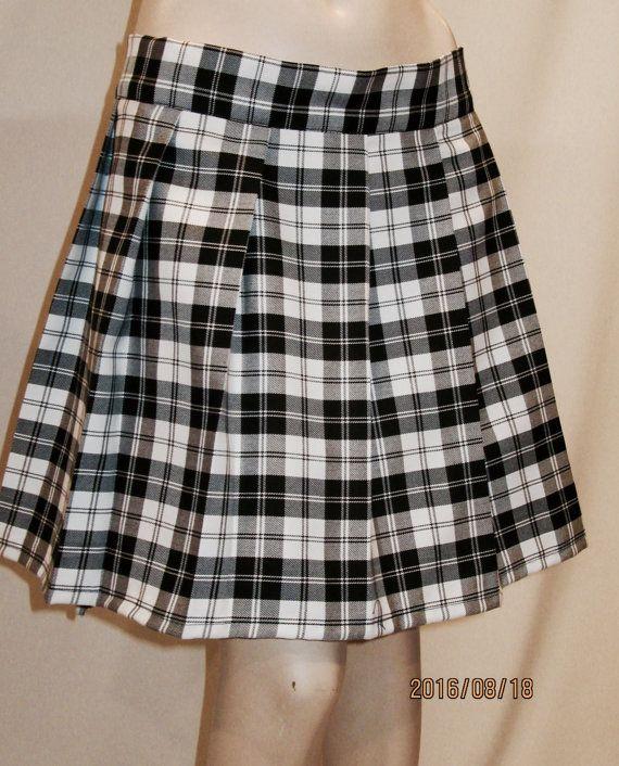 1f502acf5d0273 Menzies Black Plaid Pleated Black White Tartan Plaid Skirt | PLEATED ...