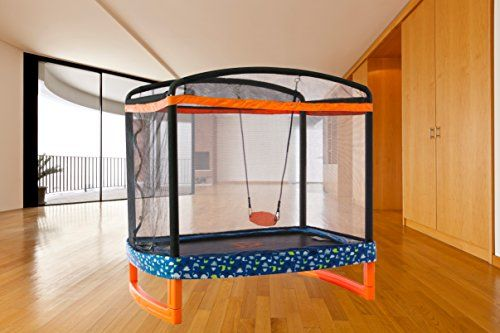"""Jump Power 72"""" x 50"""" Rectangle Indoor/Outdoor Trampoline with swing for sensory diet"""