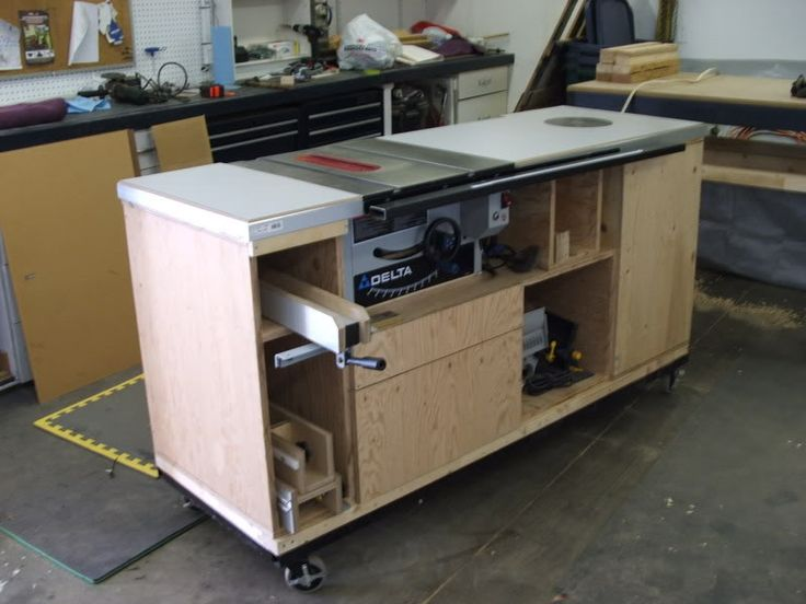 "Table saw & storage all in one. Great that it is on wheels- pull it out to the middle for larger cuts.  Add this to the ""wrap around"" work station design."