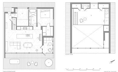 Půdorys: 1 - vstup, 2 - kuchyň, 3 - obývák, 4 - jídelna, 5 - piano, 6 - veranda, 7 - terasa, 8 - vířivka, 9 - šatna, 10 - ložnice, 11 - koupelna, 12 - garáž, 13 - loft, 14 - úložné prostory, 15 - WC, 16 - čtenářský koutek, 17 - pracovna, 18 - techn. záz.