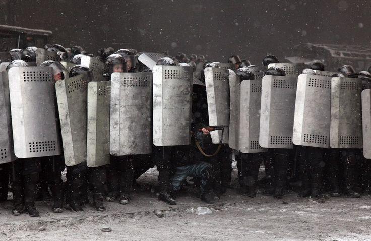 22.01.2014 r., Ukraina, Kijów: Walki na Majdanie