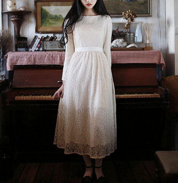 White Lace Dress Maxi Lace Dress Long sleeves by Fashiondress1, $149.99
