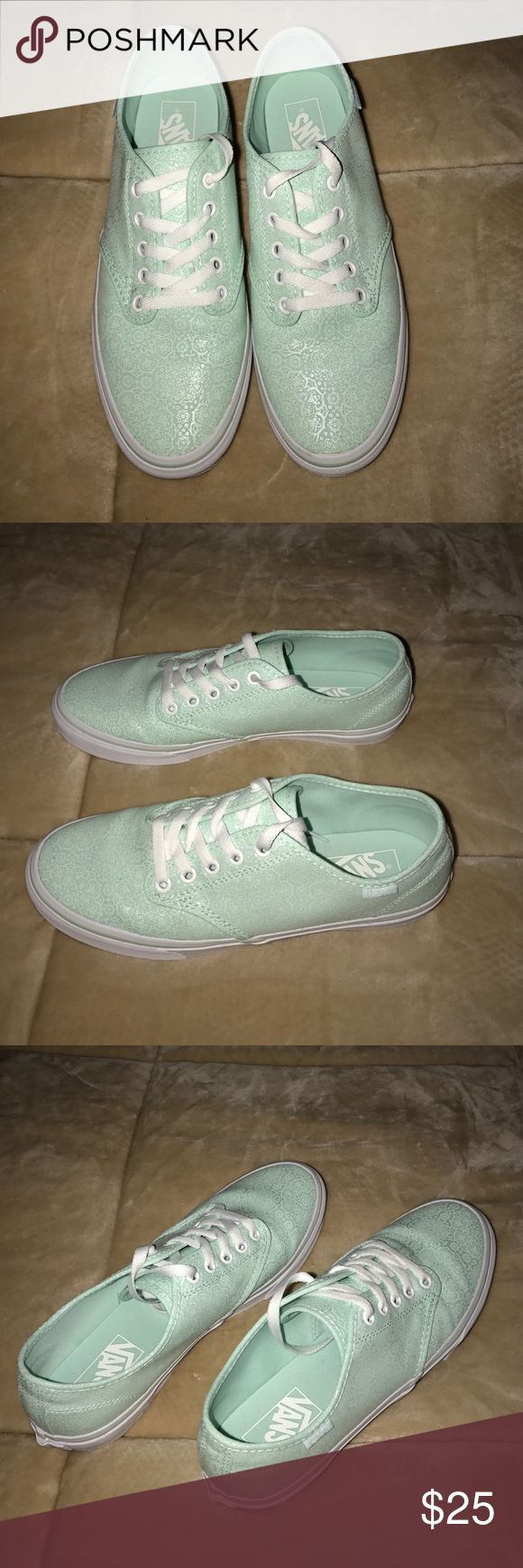 Mint Green Vans - size 9 - LIKE NEW These awesome pair of mint green Vans are a size 9.  These shoes have an embossed material and have only been worn one time!! From a non smoking home and ready to ship! Vans Shoes Sneakers