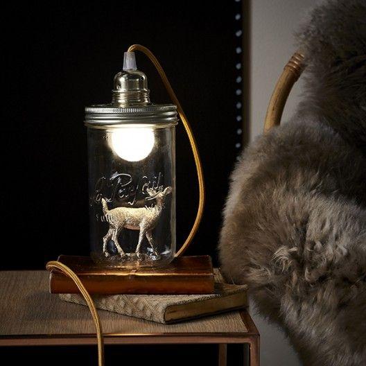 Lampe bocal Biche dorée H17,5cm de La Tête dans le Bocal