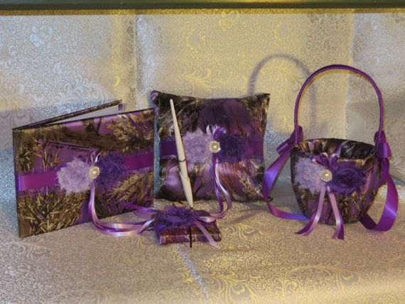 Camo Wedding Set, Wedding Flower Girl Basket, Wedding Pillow, Wedding Guest Book, Pen, True Timber Purple Camo Wedding Set