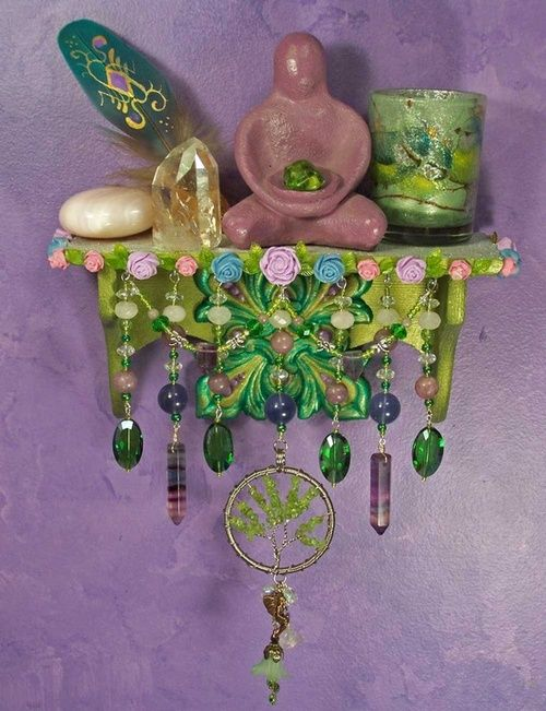 What a great idea!! Erect mini altars on all 4 walls in your sacred space/room - each one dedicated to the elements. This is so pretty!