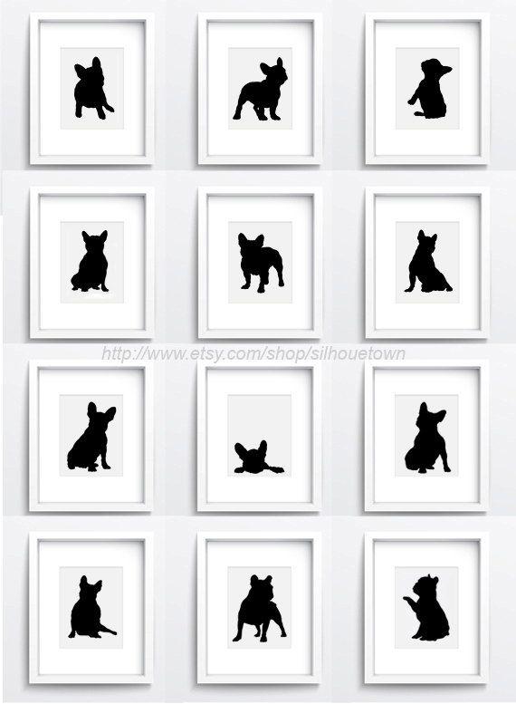 Satz von 12 verschiedenen französische Bulldogge-Figuren. Französische Bulldogge-Satz von 12 Tinte Kunst druckt. Aquarell Hund Giclée-Druck. Frenchie-Illustration-Geschenk-Idee. Abstrakte Hund Silhouette. Französische Bulldogge minimalistischen Zeichnung. Der Preis ist für eine