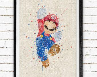 Super Mario Poster, aquarelle Print, impression de toile de jute, Art de mur de chambre pour enfants, minimaliste décoration, cadeau, non encadré, acheter 2 Get 1 Free ! NA21