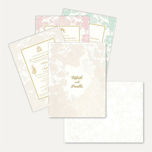 This elegant peacock theme invitation is made out of finest quality ivory (cream) paper board. Card front is covered with floral imprints and peacock. Personalized gold plated names sticker placed in center make this card look very rich. Matching envelope and laser cut Inserts holder inside the card gives stunning look as well. Names can be customizable as per couple's name   #MuslimWeddingCard.