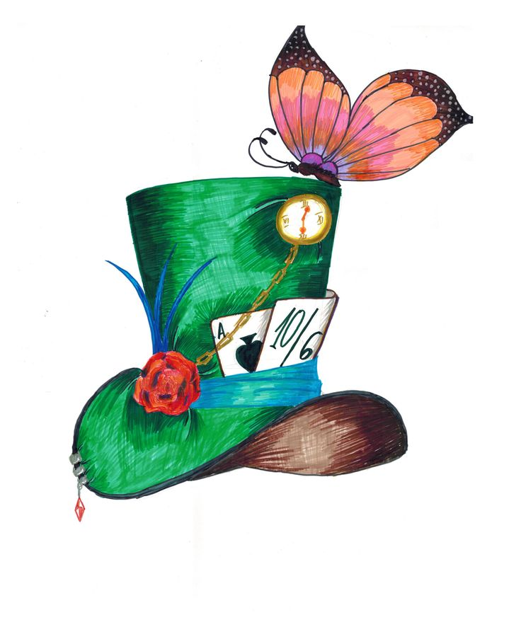 Cartoon Mad Hatter Hat Drawing