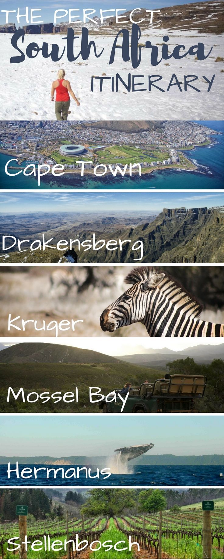 The ultimate South Africa road trip travel itinerary. Including Cape Town, Stellenbosch, Safari, Johannesburg, Kruger National Park, Durban, plenty of beaches!