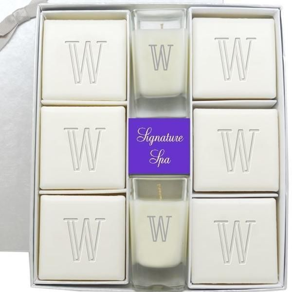 #Personalized Signature Spa Ultimate Gift Set - Verbena Soap and Votive Candle Set AD-Personalized Signature Spa Ultimate Gift Set - Verbena Soap and Votive Candle Set: Includes Six- 4 oz Square Verbena Guest Bars