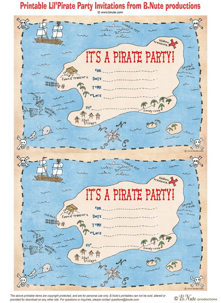free printable pirate party invitation httpbnuteblogspotcom2011 - Printable Printable