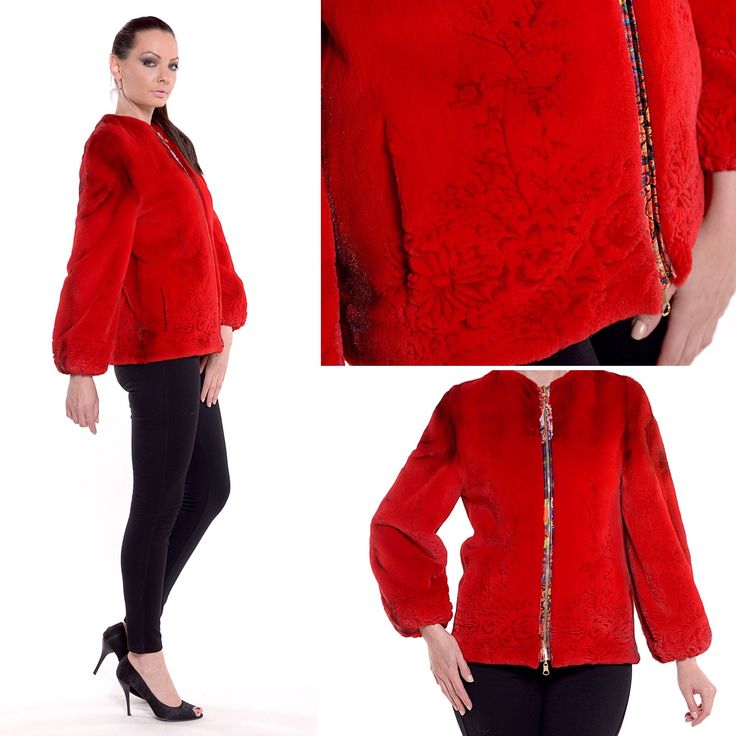 We are here to always make you look chic. Featuring a red mink fur jacket with flower details.