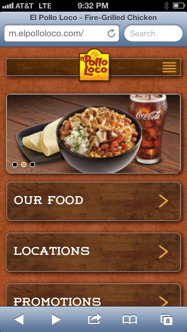 Pollo loco mobile website
