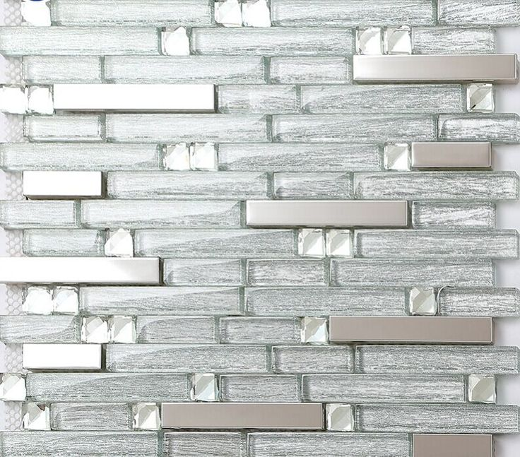 Metal Glass Tile Backsplash Stainless Steel Wall Crystal Glass Mosaic  Diamond B903 Kitchen Backsplash Tiles