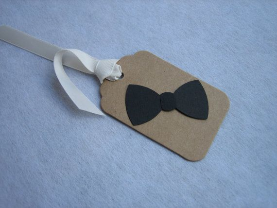 12 Gift/ Favor Tags with Bow Ties Showers by BejuledCreations