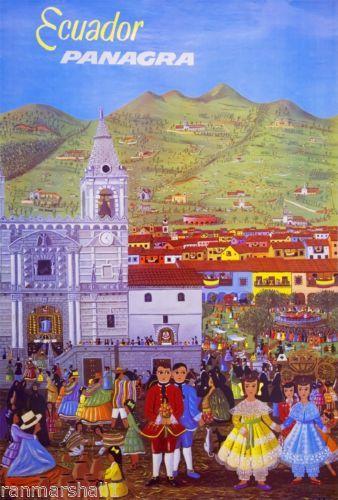 Ecuador-Panagra-South-America-Vintage-Travel-Art-Poster-Advertisement