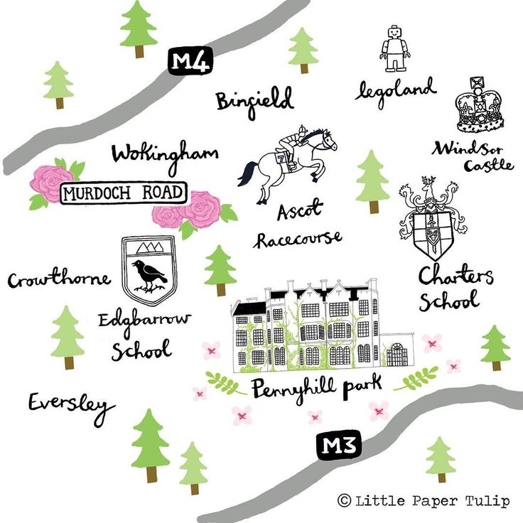Close up of the Wedding Map Illustration, featuring the Bride & Groom's schools, first house and wedding location. Was a really exciting project to work on! @pennyhill_park #weddingmap #weddingillustration #illustration #pennyhillpark #ascotracecourse #legoland #windsorcastle #eversley #crowthorne #binfield #wokingham #map #mapillustration #colour #photoshop #weddinginvites #stationery #personalised #personalisedmap #type #handmadetype #fineliner #pen #brideandgroom #personalisedwedding…
