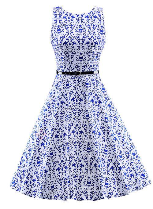 Dresses - $57.85 - Cotton Floral Sleeveless Knee-Length Vintage Dresses (1955107950)