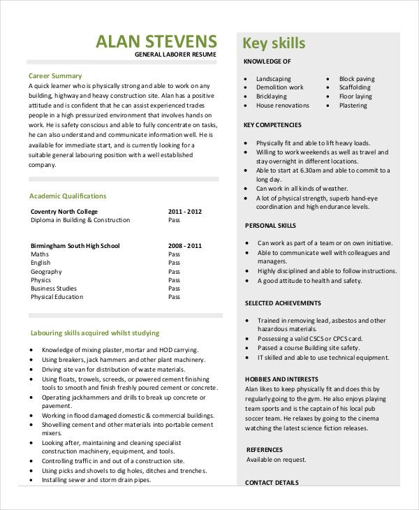 construction laborer resume sample for latest format