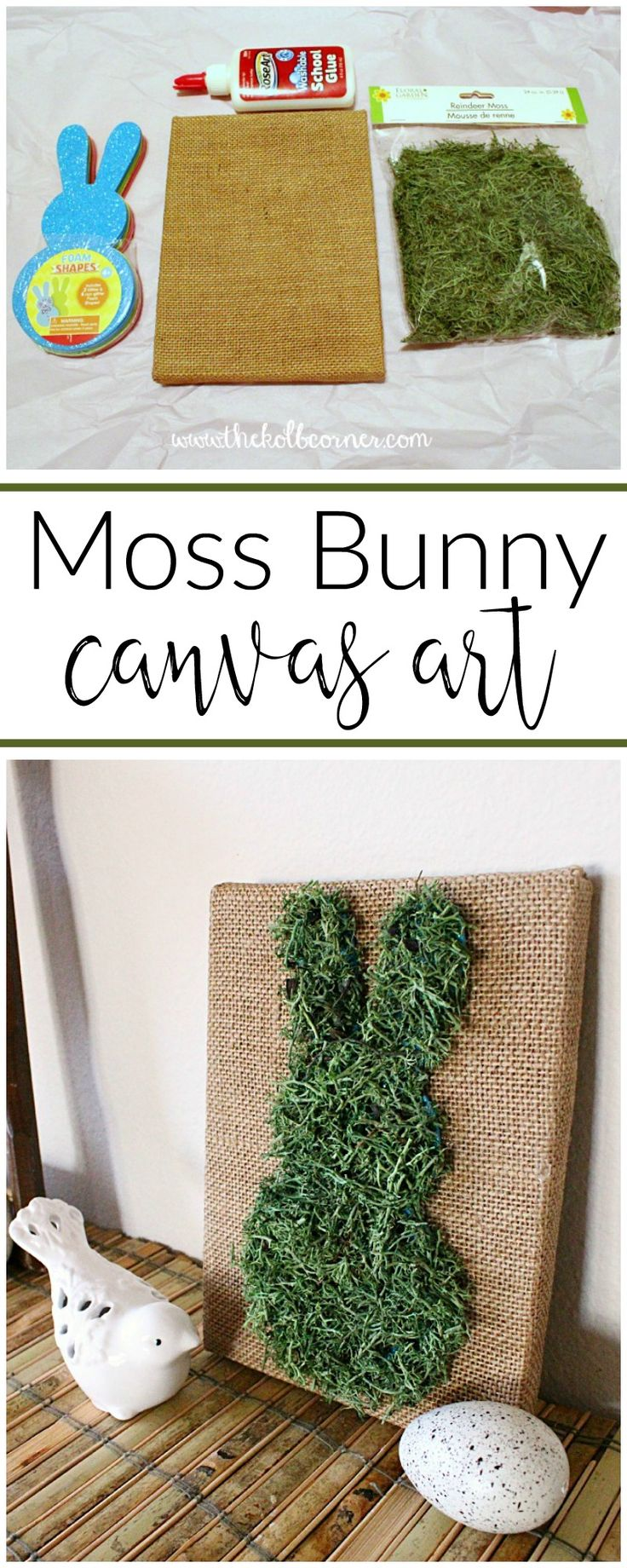 Add some pretty and inexpensive Spring decor to your home this year with this easy moss covered bunny canvas art tutorial.