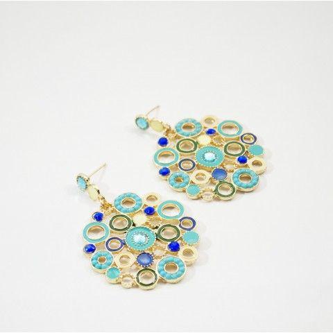 Boucle d'oreille ronde turquoise avec de petites touches vertes et blanches, orné d'une pierre turquoise sur le fermoir. #fashion #mode #bijoux #jewels #earring