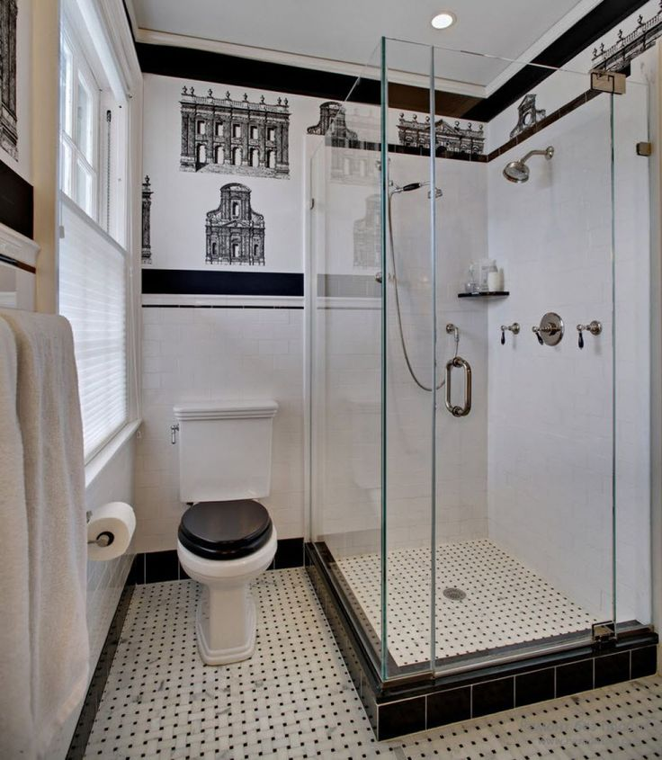 Small Art Deco Bathroom With Corner Walk In Shower And Wall Decals : The Elegance Of Art Deco Bathroom