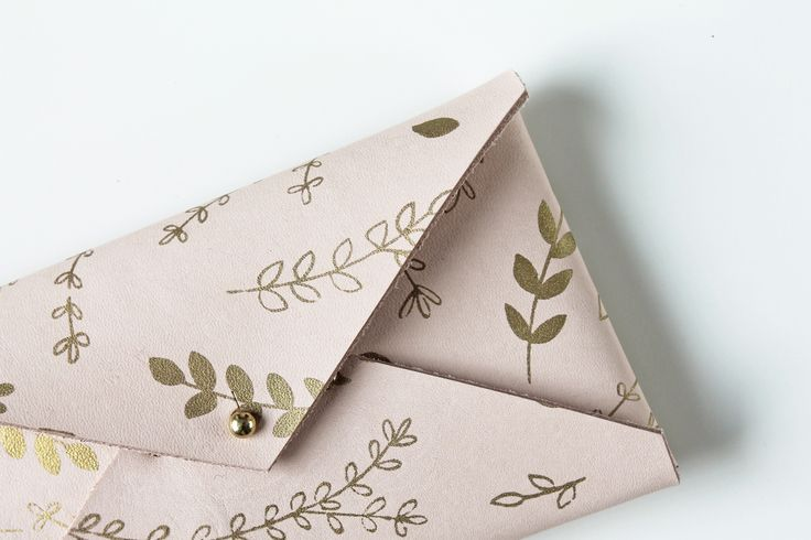 Veg tanned leather envelope clutch with gold floral print by Twill & Print
