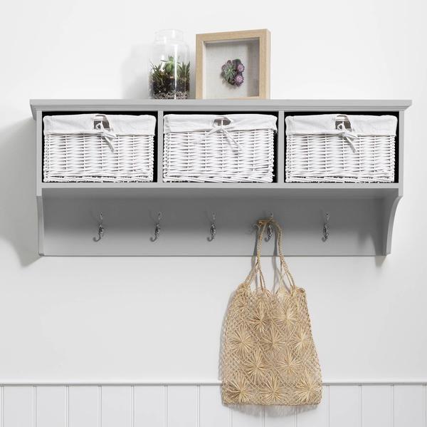 Fyfield Coat Hooks With Shelf Storage, Fyfield Coat Rack With Shelf Storage Baskets White