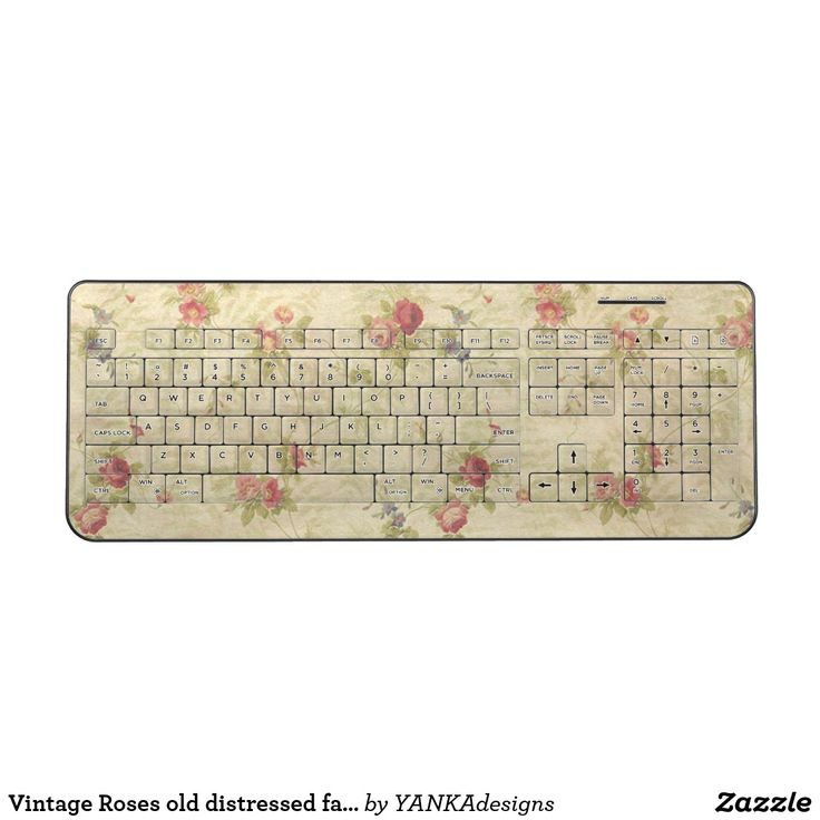 Vintage Roses old distressed fabric pattern Wireless Keyboard