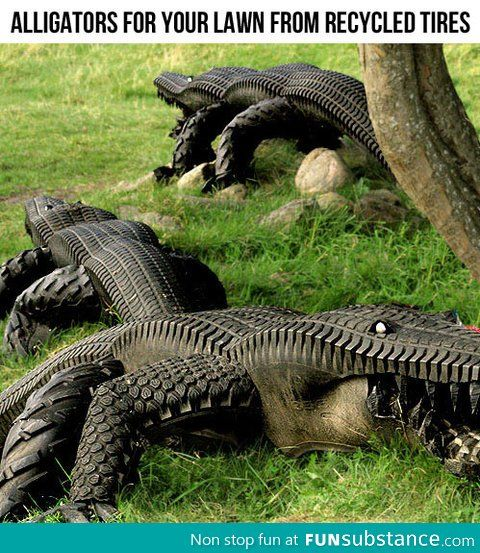 Alligators from recycled tires- I am SOOOO going to make one of these!! For the front yard.  lol...
