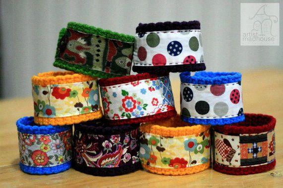 crochet fabric bracelets