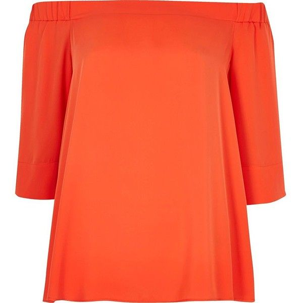 River Island Orange bardot top (€29) ❤ liked on Polyvore featuring tops, bardot / cold shoulder tops, orange, women, cut shoulder tops, loose fit tops, cut out shoulder top, ruffle top and orange top