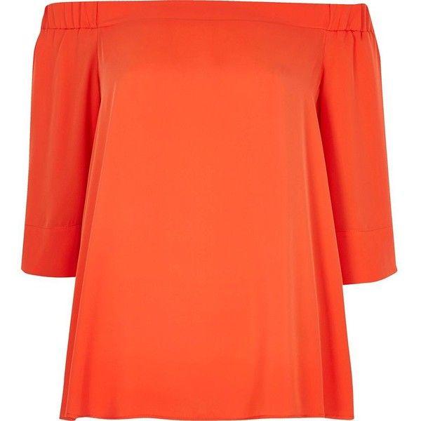 River Island Orange bardot top (€29) ❤ liked on Polyvore featuring tops, bardot / cold shoulder tops, orange, women, cut shoulder tops, loose fit tops, cut out shoulder top, ruffle top and orange top