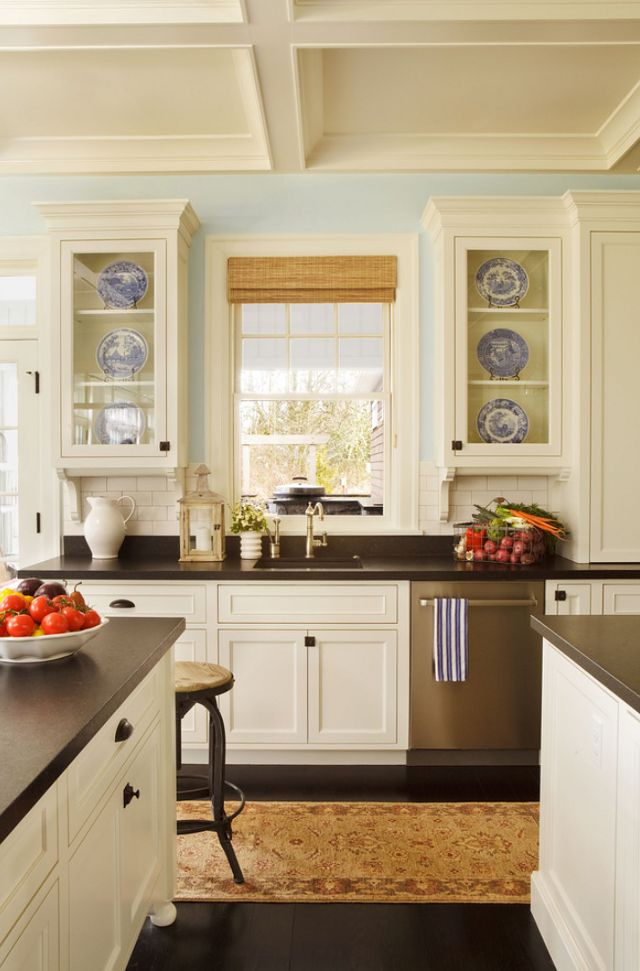 Paint Trim Cabinets Decorator S White By Benjamin Moore Wall Color Woodlawn Blue Hc 147 Bm Backsplash Dal Tile Garrison Hullinger Kitch