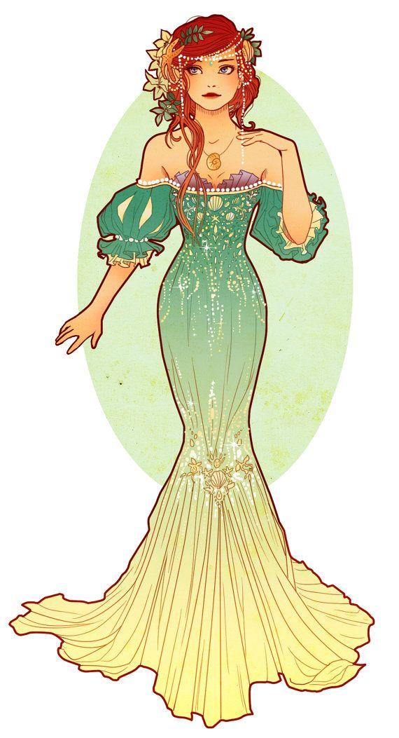 Cartes postales de Princesses de style Art par NeverBirdDesigns