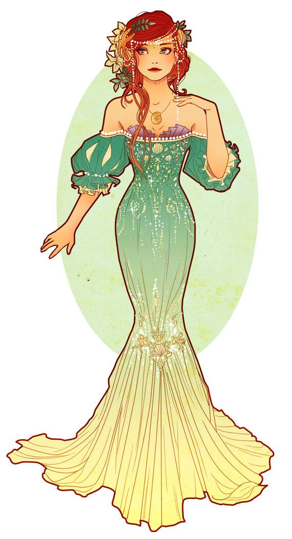 Postcards of Art Nouveau Princesses por NeverBirdDesigns en Etsy