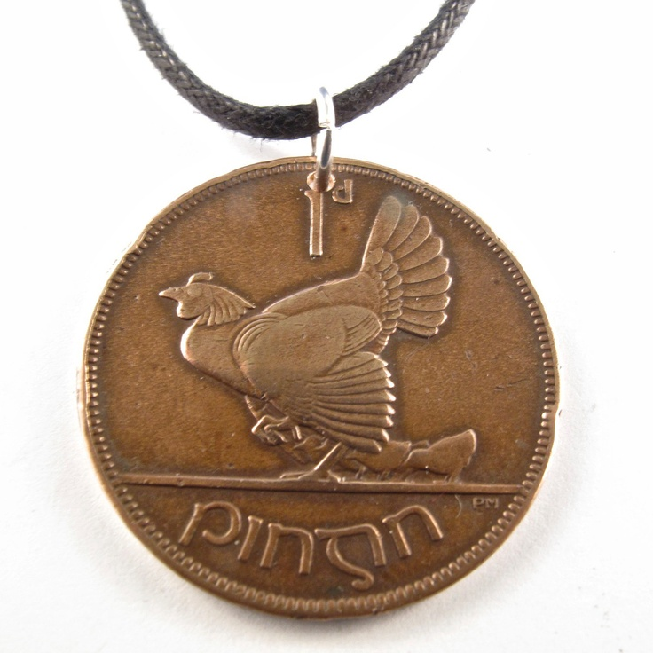 coin necklace  IRELAND IRISH Hen and Chicks chicken Bird Charm with Sterling Silver Jump Ring  . customizable. 1928 No.00915