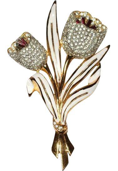 Coro Double Tulip Enamel Rhinestone Trembler Brooch Pin 1930's