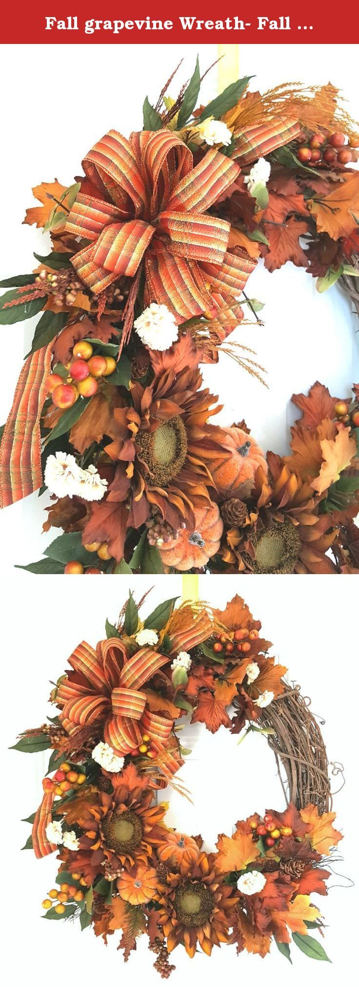 "Fall grapevine Wreath- Fall Wreath- Elegant Fall Wreath- Autumn Wreath- Harvest Wreath- Fall Decor- Thanksgiving Wreath. This beautiful Fall Sunflower and pumpkin wreath is truly stunning in the rusty brown Sunflower and fall leaf colors!! I began this on an 18"" grapevine wreath adorned with lots of gorgeous fall leaves, Sunflowers, sugared pumpkins, and greenery. My final accent was the handmade bow drooping over the side. This elegant fall wreath can be displayed throughout the..."