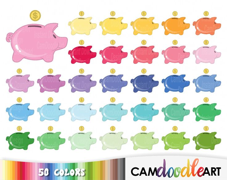 50 Piggy Bank Clipart,Saving Money Clipart,Save Up Money Clipart,Colorful Piggy Bank,Scrapbooking,Planner Clipart,Sticker Clipart,png file by CamDoodleArt on Etsy