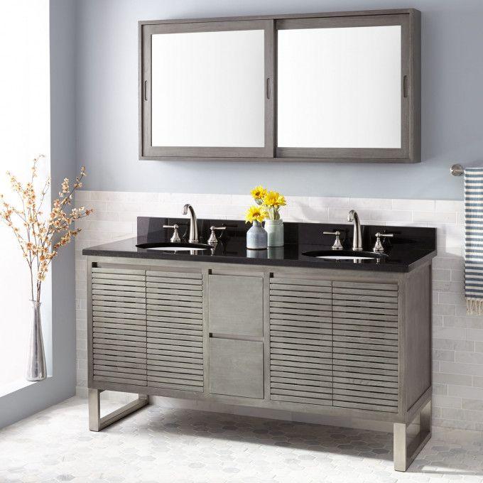 60 dickson teak vanity for undermount sink gray wash new master rh pinterest com