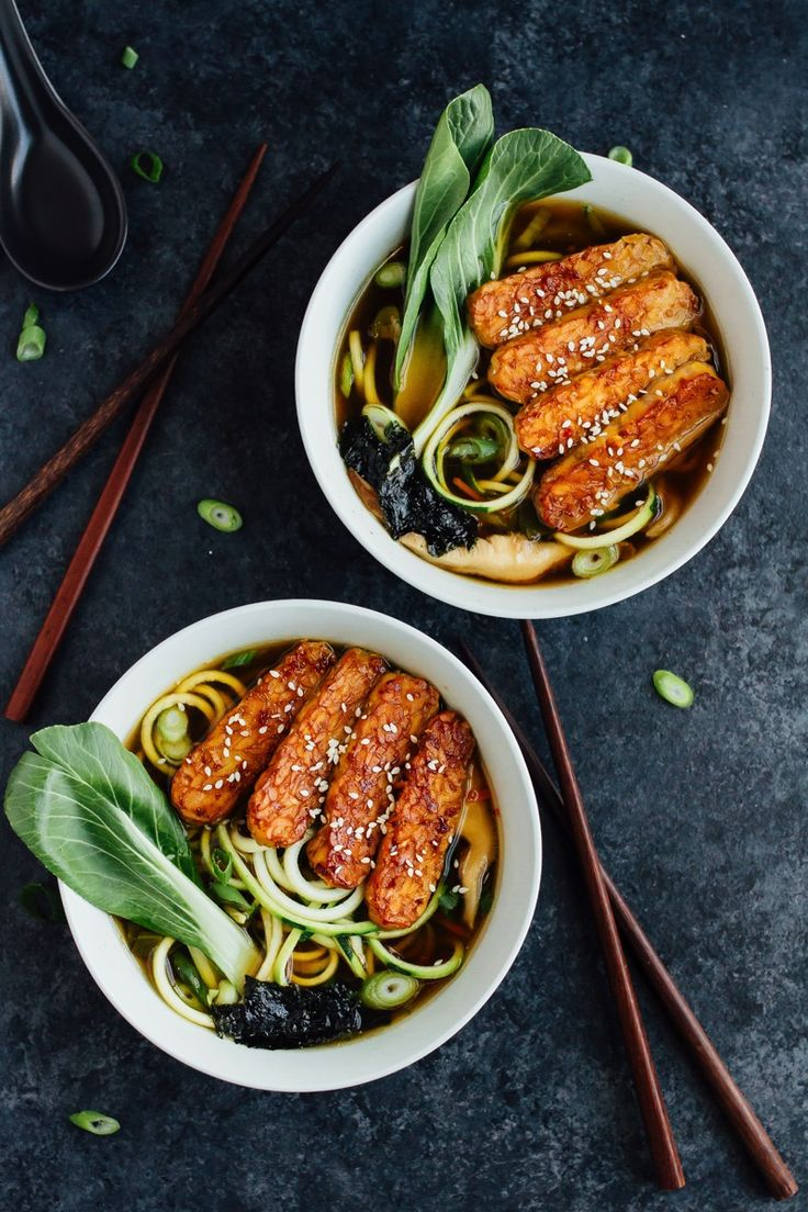 Best 25 ramen bowl ideas on pinterest ramen noodle bowls and vegan zucchini noodle ramen bowls with marinated tempeh in a quick cooking miso mushroom broth forumfinder Choice Image