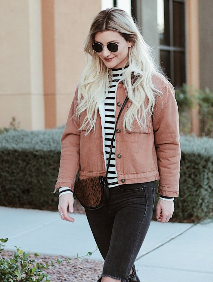 SHEARLING COAT // fall outfit, style, inspiration, causal, street style, ripped jeans, striped top, fall coat, jacket winter style, how to wear, Lindsey Simon, the noms niche, Las Vegas, fashion blogger, instablogger,